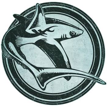 Distressed Wild Shark Stamp
