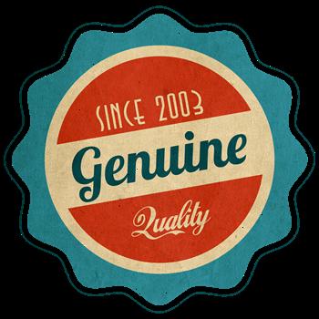 Retro Genuine Quality Since 2003 Label