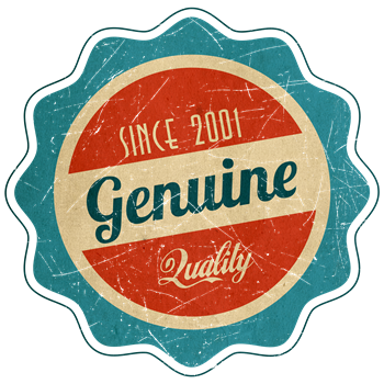 Retro Genuine Quality Since 2001 Label