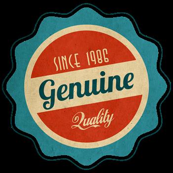 Retro Genuine Quality Since 1986 Label
