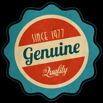 Retro Genuine Quality Since 1977 Label