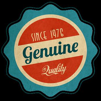 Retro Genuine Quality Since 1976 Label