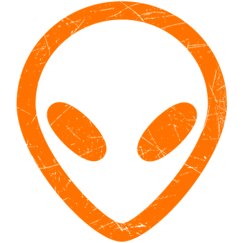 Bright Orange Distressed Alien Head
