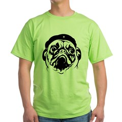 Pug Revolutionary Icon- Ash Grey Green T-Shirt