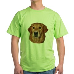 Head Study Golden Retriever Ash Grey Green T-Shirt