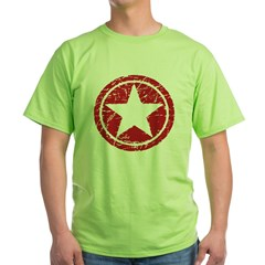 Red Circle Star black shirt Green T-Shirt