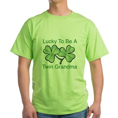 Lucky To Be A Twin Grandma Green T-Shirt