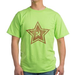 Red-Star-Faded-Blk Green T-Shirt