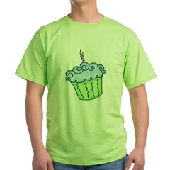 Cute Cupcake (blue) Green T-Shirt