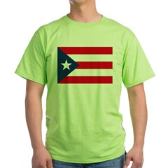 Puerto Rican Flag Ash Grey Green T-Shirt