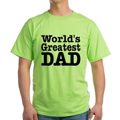 World's Greatest Dad Ash Grey Green T-Shirt