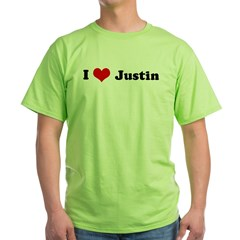 I Love Justin Ash Grey Green T-Shirt
