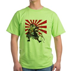 Flag Samurai Ash Grey Green T-Shirt