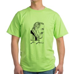 "Padre Pio Signature Grey T-Shirt. ""Pray, Hope"" Green T-Shirt"