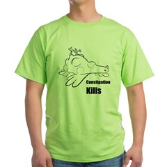 Constipation Kills! Sleeveless Chicken T-Shir Green T-Shirt