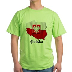 Poland flag map Green T-Shirt
