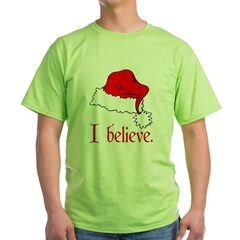 I Believe in Santa Ash Grey Green T-Shirt