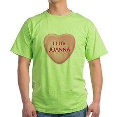 I Luv JOANNA Candy Heart Green T-Shirt