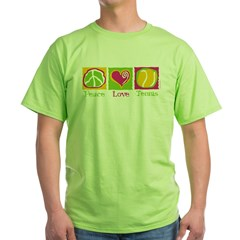 Peace Love Tennis Green T-Shirt