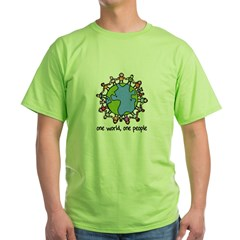 one world,one people Green T-Shirt