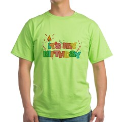 It's My Birthday Letters Green T-Shirt