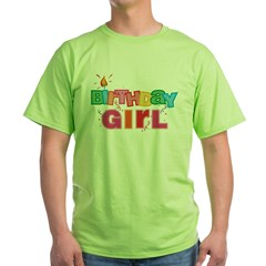 Birthday Girl Letters Green T-Shirt