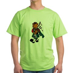 Jimmie the Scottish Piper Bear Green T-Shirt