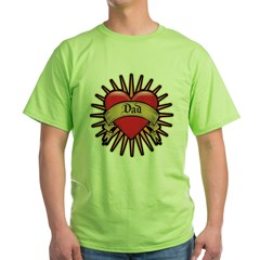 Father's Day Red Heart Dad Tattoo Green T-Shirt