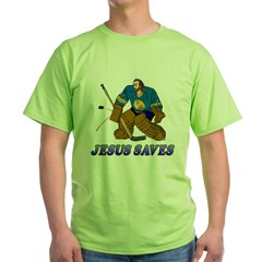 Jesus Saves (Hockey Goalie) Green T-Shirt