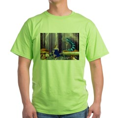 Who Are You? (Blue Caterpillar) Green T-Shirt