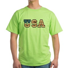 USA [stars&amp;stripes] Green T-Shirt