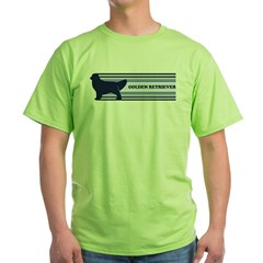 Golden Retriever (retro-blue) Green T-Shirt
