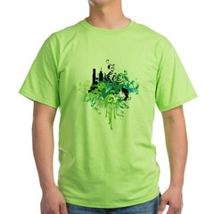 abstract floral design Green T-Shirt