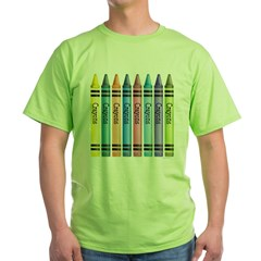Colorful Crayons Green T-Shirt