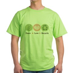 Recycling Peace Love Recycle Green T-Shirt