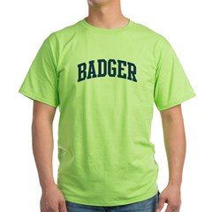 BADGER design (blue) Green T-Shirt