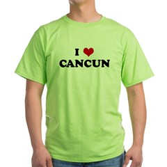 I Love CANCUN Green T-Shirt