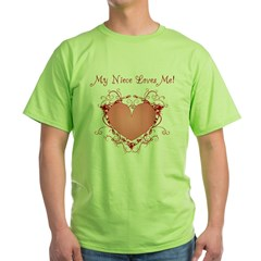 My Niece Loves Me Heart Green T-Shirt
