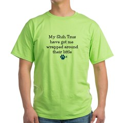 Wrapped Around Their Paws (Shih Tzu) Green T-Shirt