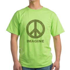 VintageImaginePeace1Bk Green T-Shirt
