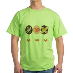 TeachPeaceLoveDkT Green T-Shirt