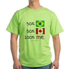 Brazil/Canada Flag Design Green T-Shirt