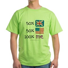 UK/USA Flag Design Green T-Shirt