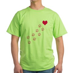 Pink Paw Prints To My Hear Green T-Shirt
