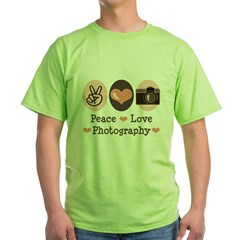 Peace Love Photography Camera Green T-Shirt