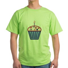 4th of July Cupcake Green T-Shirt
