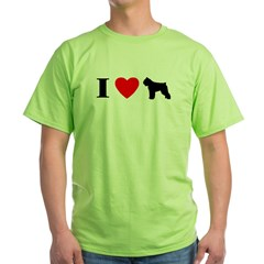 I Heart Bouvier des Flandres Green T-Shirt