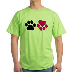 Heart Paw Green T-Shirt