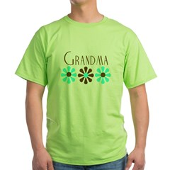 Grandma - Blue/Brown Flowers Green T-Shirt