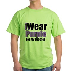 I Wear Purple For My Brother Green T-Shirt